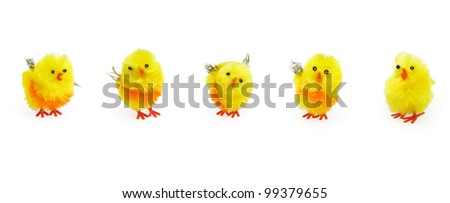 Easter cute yellow chicks puppets on white background. Traditional images for seasonal decoration
