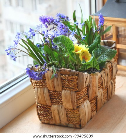 Easter decor for a house on a wooden background
