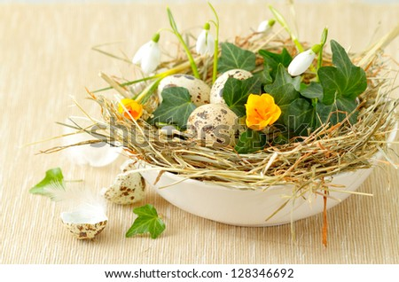 Easter decoration: nest with spring flowers and quail eggs