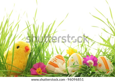 Easter decoration with chick and eggs on fresh green grass