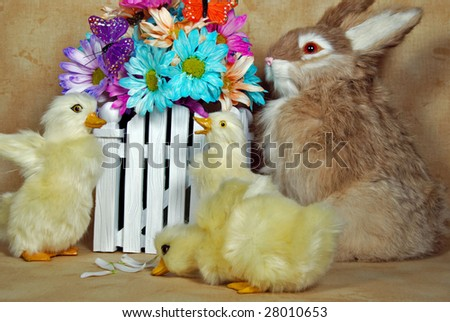 easter ducks and bunny with daisies