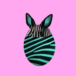 Easter egg and bunny with zebra animal print texture on pink background.