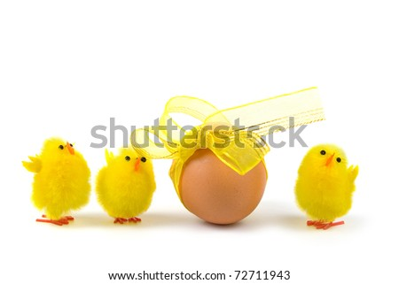 Easter egg and chickens on a white background