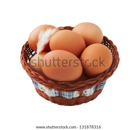Easter egg and feather in basket isolated on white background