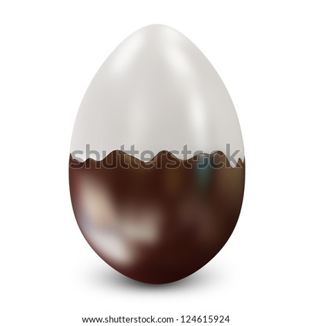 Easter Egg from White and Dark Chocolate isolated on white background