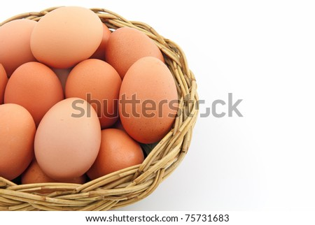 Easter egg in a basket isolated on a white background