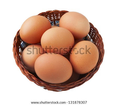 Easter egg in basket isolated on white background