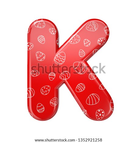 Easter egg letter K - Large 3d red and white celebration font isolated on white background. This alphabet is perfect for creative illustrations related but not limited to Easter, events, fest... Stock fotó ©