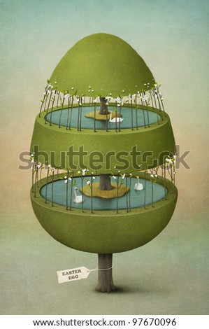 Easter egg made of tree.Greeting card.