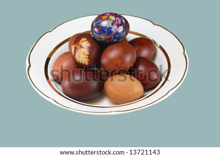 Easter egg on white plate