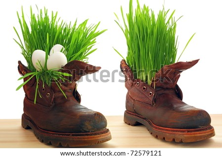Easter egg, spring and force of nature. Spring comes everywhere, even in the old soldier's boot. Nothing donâ??t stop  forces of nature