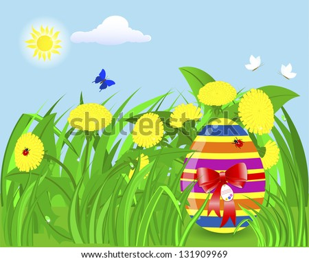 Easter egg with a red bow and a tag in the grass with dandelions, ladybugs and butterflies. Raster version.