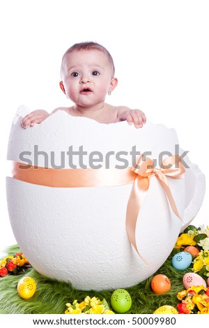 Easter egg with baby on white background