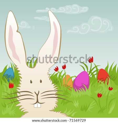 easter eggs and bunny on a meadow - for vector version see image no. 71114182