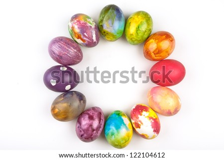 Easter eggs arranged in a circle.