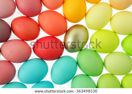 Easter eggs background/ painted easter eggs isolated on white background