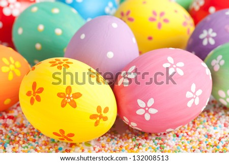 easter eggs close up