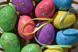 Easter eggs decorative. Easter eggs decorative texture background. Decorative easter eggs close up. Easter holiday