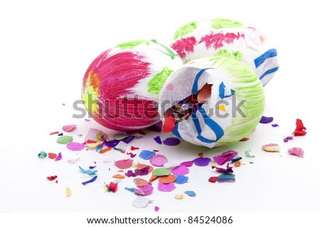 Easter eggs filled with Confetti
