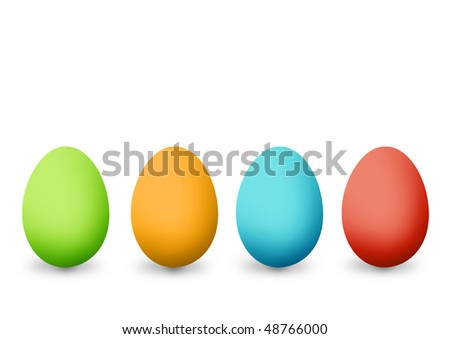 Easter eggs illustration isolated on white background - stock photo