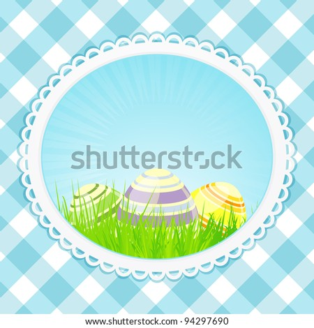 Easter eggs in a decorative border on a blue gingham background