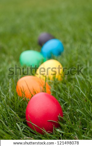 Easter eggs in a row on the meadow