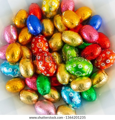 Easter eggs in a square. Stockfoto ©