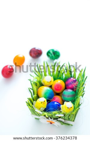 Easter eggs in basket #376234378
