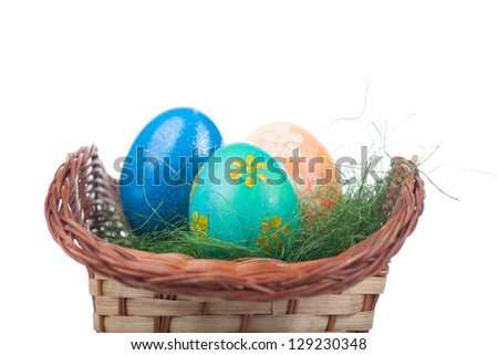 easter eggs in basket isolated on white