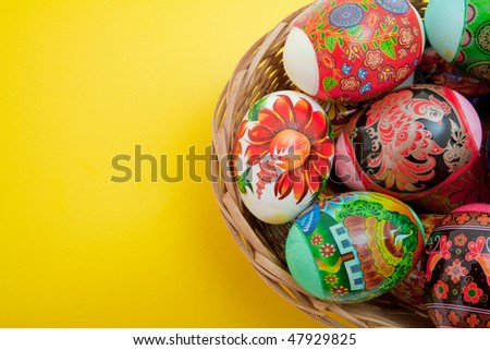 easter eggs in basket on yellow background