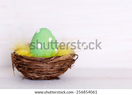 Easter Eggs In Easter Basket Or Nest On White Wooden Background With Copy Space Free Text Or Your Text Here For Advertisement As Easter Decoration Or Easter Greetings Vintage Or Old Fashion Style