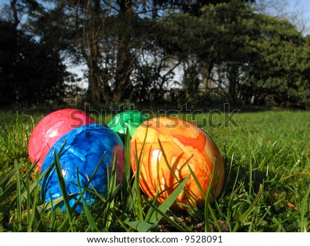 Easter eggs in garden