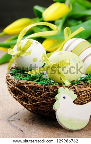Easter eggs in holiday setting
