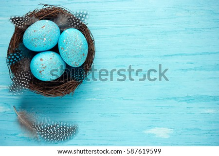 Easter eggs in nest , turquoise Easter background #587619599