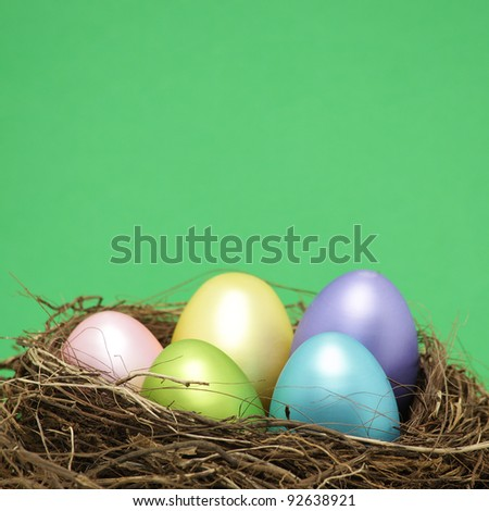 Easter eggs in real bird nest with copy space