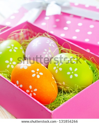 easter eggs in the pink box