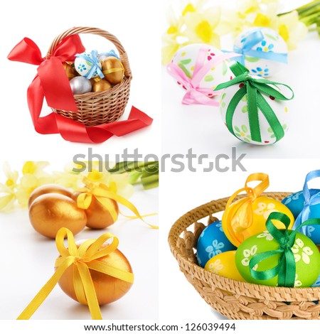 Easter eggs in wicker basket over white background set