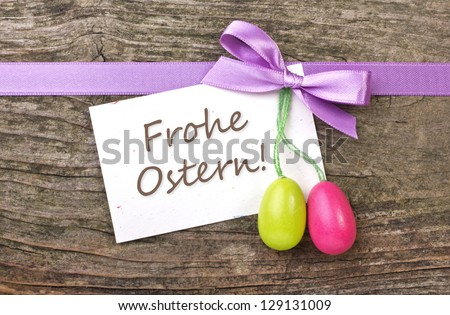 easter eggs, loop and note with lettering happy easter/easter card/easter