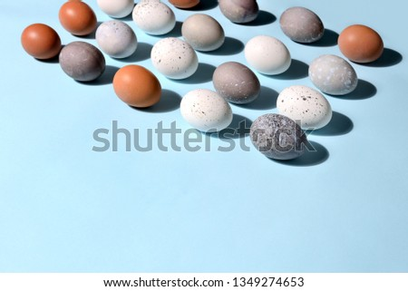 Easter eggs minimal concept, flat lay of naturally painted eggs lying diagonally, with strong sunshine shadow #1349274653