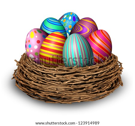 Easter eggs nest holiday symbol decoration with seven multi colored festive spring ovals in a bird nest for celebration of a religious and traditional cultural event and an egg hunt on white.