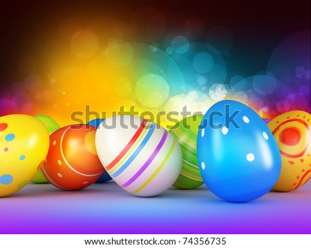 Easter eggs on a dark background