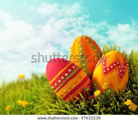 Easter eggs on green grass