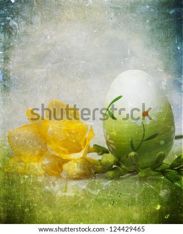 Easter eggs on grunge vintage background - stock photo