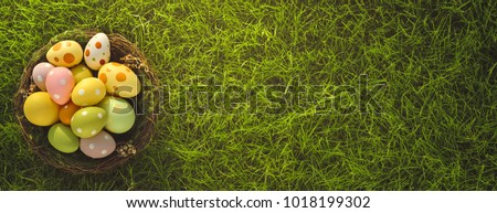 Stock Photo Easter eggs on meadow grass background