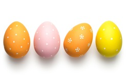 Easter eggs on white background. Easter concept. Top view