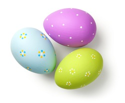 Easter eggs on white background. Top view