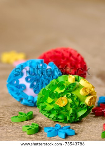 Easter eggs over golden background