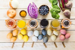 Easter eggs painted with natural egg dye from fruits and vegetables.