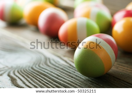 Easter Eggs.Selective focus