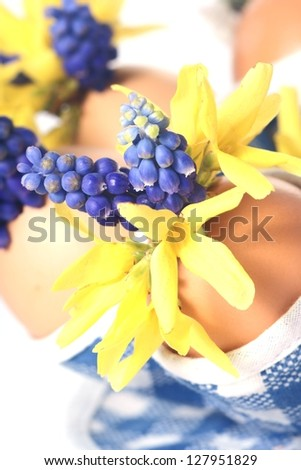 Easter eggs with flowers on whit background, easter decoration